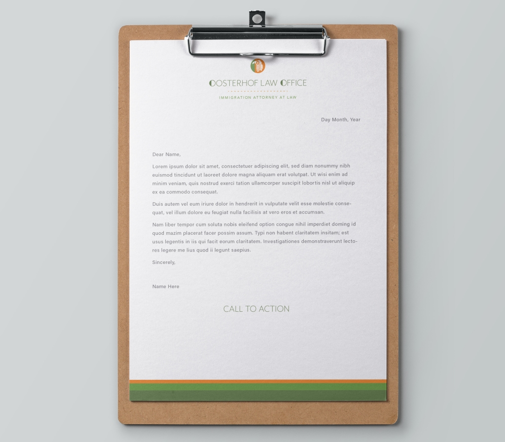 Letterhead for Oosterhof Law Office.