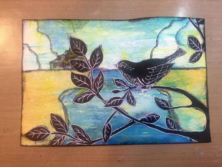 Yva Barbour Mixed Media Art Card Silhouette