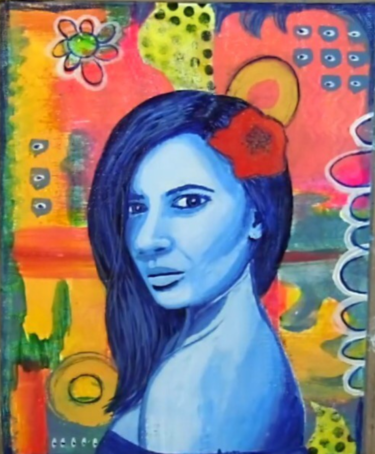 Yva Barbour Mixed Media Collab Painting Portrait